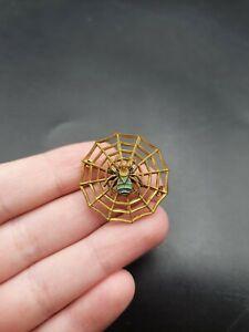 Vintage Antique 1930s Czech Deco Enamel Spider Web Brooch