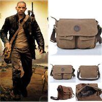 Mens Boys Vintage Canvas Leather Satchel School Military Shoulder Messenger Bag