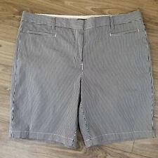 Lands End Womens Shorts Blue White Railroad Stripe Cotton Fit 2 Size 18