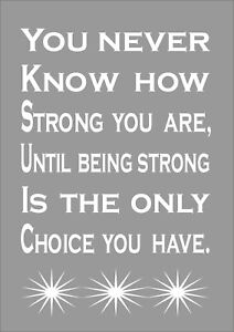 You Never Know How Strong You Are Until  - Inspiring Quote - Print Poster A4