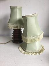 Vintage Clip On Lamp Shades Tassel Brocade Pale Green Boudoir X 3 Retro Small