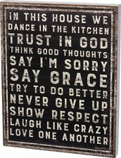 """NEW!~PRIMITIVE WOOD SIGN~""""IN THIS HOUSE WE DANCE IN THE KITCHEN TRUST IN GOD..."""""""