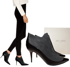 Jimmy Choo Black Gray Brady Ankle Boots Pointy Toe 38 Zippered Booties.