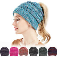 Beanie Ponytail Hole Hair Bun Tail Soft Stretch Cable Knit Winter Warm Hat