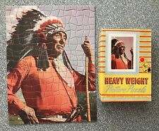 vtg Picture Jigsaw Puzzle 250 COMPLETE Native American Indian Headress antique v