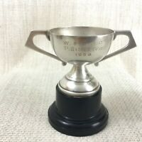 1959 Vintage Motor Car Rally Trophy Cup Silver Plated Mounted Memorabilia