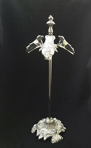 """VICTORIAN METAL CLIP GLOVE NOTE STAND HOLDER ORNATE SILVER METAL """"Excellent!"""""""
