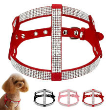 Bling Rhinestone Studded Pet Dog Strap Harness Soft Suede for Small Medium Dogs