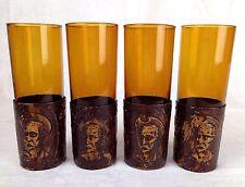 4 Weingläser Stangenglas mundgeblasen Halterung geprägtes Leder Vintage
