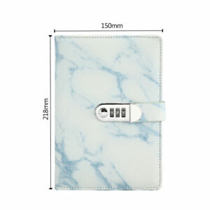 A5 Marbled Pattern Journal Diary Code Lock Notebook with Password Blue