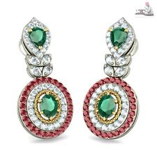 14k Real white Gold 2.50ct Certified Natural Diamond Ruby Emerald Drop Earrings