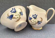Toscane Pot à Lait & Sucrier Set-Bleu Campanule à feuilles rondes D2536 Fine Eng...