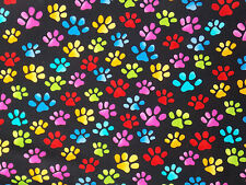 Loralie Fabric PAWS Black cats dogs quilt primary colors BTY craft cotton sew