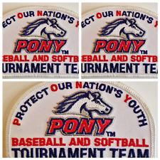 Pony Emblem Tournament Baseball Softball Iron-on Patch Scrapbooking: Lot of 3
