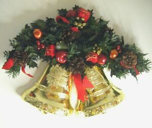 Vtg Retro Kitsch Xmas Large Bell Wall Door Hanging Decoration Red Green Gold