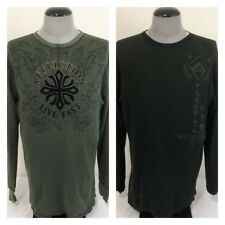 Affliction Live Fast Mens XL Green Reversible Thermal Crewneck Pullover Shirt