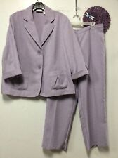Ladies pant suit size 16 purple two button jacket Alfred Dunner 169