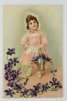 Postcard Tucks Happy Birthday Girl Pink Dress Basket of Flowers an Card