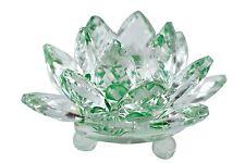 "Stunning 3.5"" Clear  & Green Hue Reflection Crystal Lotus Home Decor USA Seller"