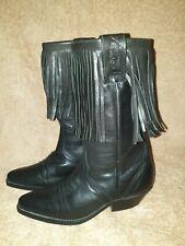 "Ladies Black Leather Fringed Pull On Cowboy Boots by ""JOE SANCHEZ"" sz5"