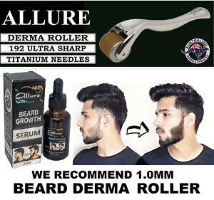 Beard Derma Roller Hair Growth Oil Serum Kit 192 Inserted Titanium Needles 1mm