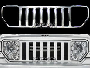 08-13 Jeep Liberty CHROME Snap On Grille Overlay Grill Cover Trim Front Insert
