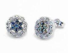 Diamond Earrings 10K White Gold Blue & white diamond Star Cluster Studs .23ct