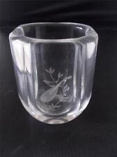 Vtg Scandinavian Swedish Clear Glass Crystal Vase Etched Mandolin Signed