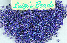 11/0 Round Toho Japan Glass Seed Beads #181-Rainbow Crystal/Tanzanite 10 grams