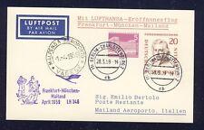 50684) LH FF Deutschland - Mailand Italien 1.4.59, Karte ab Berlin MiF