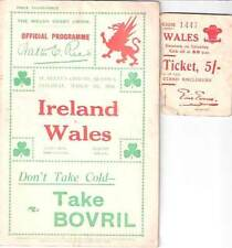 WALES v IRELAND 1930 RUGBY PROGRAMME 8 Mar at SWANSEA & TICKET STUB
