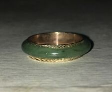 Genuine Jade Ring lined with 18K Diamond Cut Gold, Size 9 from Taiwan