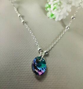 925 Sterling Silver satellite chain Vitrail Genuine Crystal Pendant
