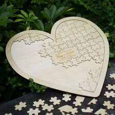 Custom Wooden Puzzle Heart Guestbook Personalized Wedding Guest Book Alternative