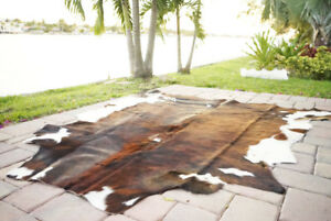 Brindle Rodeo Cowhide Rug Hair on authentic leather rug size approx 6x7 ft