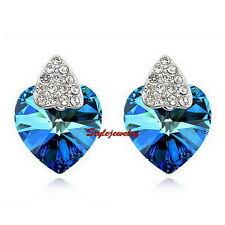 White Gold Filled Crystal Ocean Blue Heart Stud Bridal Earring IE64