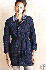 NEW Anthropologie Citizens of Humanity Myla Coat blue quilted belt fur S $598