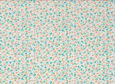 Cream / Mint Floral Polycotton Fabric