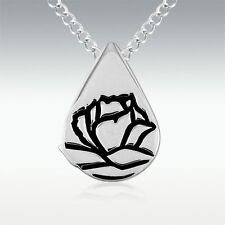 """Memorial Tear Rose Teardrop Sterling Silver Pendant Necklace on 18"""" S.S. Chain"""