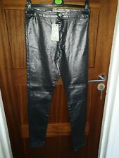 Primark Silver Metallic Super High Waisted Stretch Jeans Joni Style Size 12