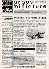 ARGUS DE LE MINIATURE N°39 Octobre 1981 Dinky GB - Solido - Panhard poids lourds