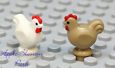NEW Lego Minifig Lot/2 TAN WHITE CHICKEN -Dark Castle Farm Bird Chick Hen Animal