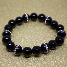 Handmade, Black Onyx, Natural Agate Beads with Crystal, Yoga Stretchy Bracelet