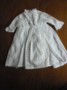 """Home made white dolls dress antique 13.5"""" long long sleeves suit baby or girl"""