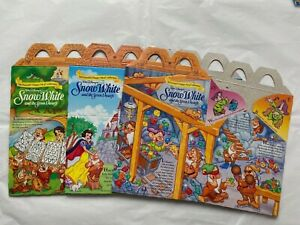 Vintage 3 x McDonald's Snow White and Seven Dwarfs New Happy Meal Boxes 90's