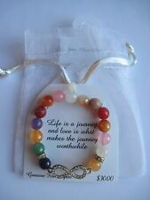 Infinity Stretch Bracelet in Gift Bag Genuine Fire Agate Rhinestone FREE S&H $30