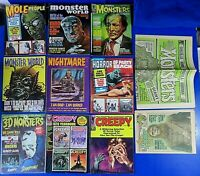 LOT OF 11 ~ VINTAGE MONSTER HORROR SCI-FI CREEPY MAGAZINES ~ 1950's To 1970's