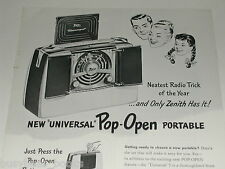 1948 Zenith ad, Zenith Universal Radio, pop-open portable AM radio