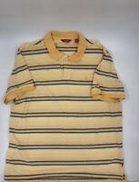 Mens Izod Short Sleeve Polo Shirt Striped Golf Tennis Elite Yellow Size 2XL