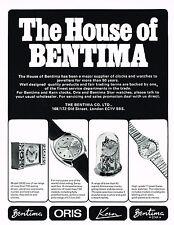 1970s Vintage 1977 Bentima Oris Kern Clock Watch Paper Print Ad